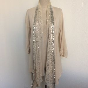 Nude Sequin Trim Open Cardigan
